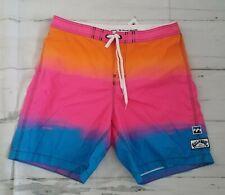 NWT Billabong SwimTrunks Board Shorts 38 Retro Beach Vacay Colorblock Havana Fit