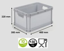 TKO 6 X 20 Litres Robusto Industrial Plastic Stacking Euro Storage Containers