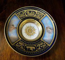 19TH CENTURY ROYAL VIENNA PORCELAIN GOLD GUILT COBALT BLUE PLATE/SAUCER~CHERUB