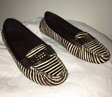 Tory Burch Brown Pony Calf Hair Leather Loafers Zebra Shoes 6.5M