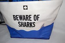 NWT Kate Spade Make a Splash Rey Beware of Sharks Extra Large Beach-Tote Bag