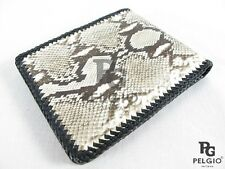 PELGIO Real Genuine Natural Python Snake Skin Leather Men Bifold Wallet Handmade