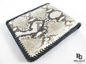 PELGIO Genuine Python Snake Skin Leather Handmade Bifold Cowboy Wallet Natural