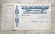 1890s Monte Video Telephone Limited Early Unissued Stock Certificate Uk Uruguay