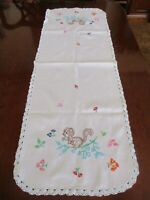 Vintage squirrels/floral embroidered wt. cotton table runner w/ lace edging