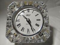 """Mikasa Starfire German quartz Austrian 3.5"""" lead Crystal clock paperweight Roman"""