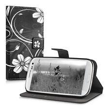 SLL Wallet Case per Samsung Galaxy s3 s3 NEO fiori Swirl ECOPELLE BIANCO