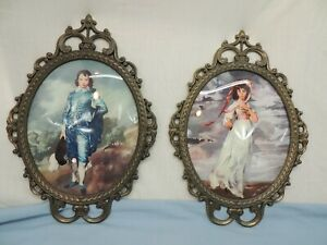 """BLUE BOY & PINK GIRL PAIR OF PICTURES WALL HANGING MADE IN ITALY  17.25"""" X 12"""""""