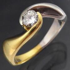 Modern Solid White Yellow 18k GOLD WRAP DIAMOND SOLITAIRE RING Val=$1740 Sz L1/2