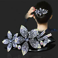 Women Crystal Bow Hair Claw Clip Banana Hair Clip Flower Hairbands Hairpin