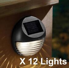 12 X SOLAR BETRIEBEN 2 LED REGENRINNE ZAUN LICHT AUßEN GARTEN LAMPE SCHWARZ