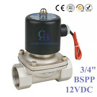 "DC12V 3/4"" BSP Stainless Steel 304 Normally Closed Electric Solenoid Valve"