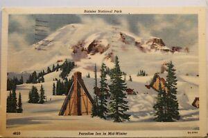 Washington WA Mt Rainier National Park Paradise Inn Mid Winter Postcard Old View