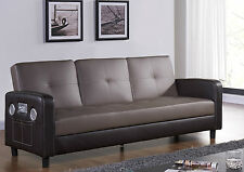 Sofa Bed with Cup holder Bluetooth Speakers USB AUX Input Faux Leather 3 Seater