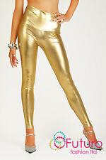 Shiny Wet LOOK & Black Mat High Waist Full Ankle Length Leggings HQ Size 8 UK (s) Gold