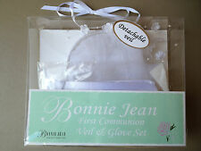 NEW COMMUNION VEIL & GLOVES Bonnie Jean Flower Headband Detachable Veil MSRP $36