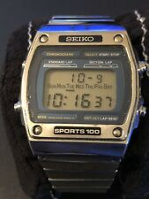 Seiko Sports 100 Vintage Digital Watch! (A229-5060) Works Great! Blue Dial