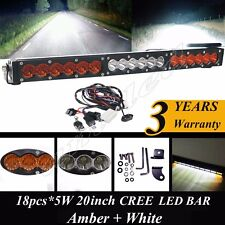 "20"" Dual Color Amber/White Stroboflash Led Remote Light Bar Offroad 4x4 Truck 22"