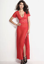 Red Sheer Lace Plunging Slit Short Sleeve Dress Lingerie Gown 6366
