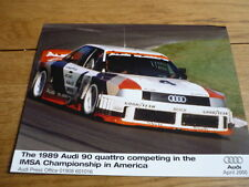 "AUDI 90 QUATTRO RACER 1989 PRESS PHOTO "" BROCHURE "" . jm"
