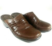 Clarks Size 6M Brown Slip On Slides Mules Clogs Shoes Leather-62900