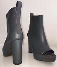 NEW Brunello Cucinelli Boots Gray Leather Monili Heel Ankle Sz 38 US 8 Auth $2k