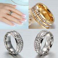 Sz8-12 Men Women's Unisex CZ Stainless Steel Silver Gold Ring Wedding Rings New