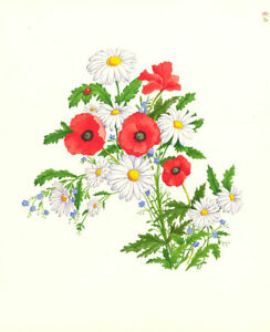 Contemporary Gouache - Red Poppies and Daisies
