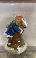 St Nicholas Square Christmas Village Boy Hugging Puppy Dog Kid Figurine  New