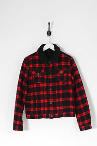 Vintage Women's Sherpa Lined Checked Wool Jacket Red (M)