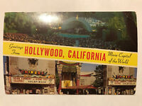 Greetings From Hollywood, California, Movie Capital of the World, CA Postcard