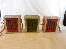 Wooden Red & Green Hanging HO HO HO Sign Block Shape Christmas Decor