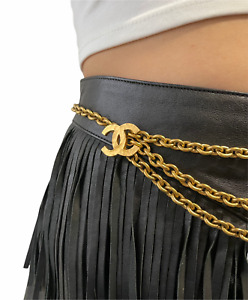 CHANEL Vintage 90s Coco Mark Cc Double Chain Belt Accessory Gold RankAB