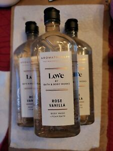 "3pk Bath & Body Works AROMATHERAPY ""LOVE"" ROSE VANILLA Body Wash 10 oz"