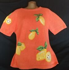 Ladies The Quaker Factory Orange Fruit Short Sleeve Gently Used Top Size S