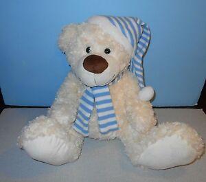 "18"" Toys R Us Chenille Swirl Plush White Teddy Bear w/ Blue Knitt Cap & Scarf"