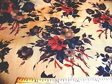 """Vintage 1930's Cotton Fabric ROSE FLORAL Gold Red Teal Olive Brown 36"""" W x 36"""" ."""