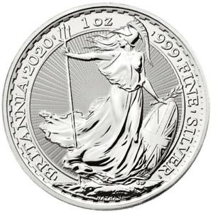Silver BRITANNIA 1oz Coin UK Royal Mint Bullion coins in capsules 1997 to 2021