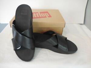 Fitflop  Black Lulu Cross Slide Leather Sandals Women's Size 9 NIB Wobbleboard