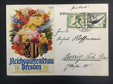 1936 Dresden Germany postcard Cover Garden Show to Aussig