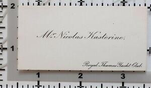 Antik Calling Card Mr Nicolas Kasterine Royal Thames Jacht Club