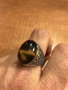 Vintage Stainless Steel Genuine Tiger's Eye Size 11 Men's Ring