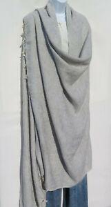 Blanket/Throw | Yak Wool Blend |Nepal |Handmade |Over-Sized | Light Gray & White