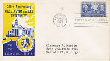 POSTAL HISTORY FIRST DAY/EVENT COVER 1949 WASHINGTON  & LEE UNIVERSITY FIDELITY