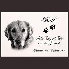"""GRABPLATTE Grabmal Grabschmuck Tier Grabstein Hund-p11 â–º Fotogravur â—"""" 30 x 20 cm"""