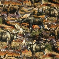 Moose Wildlife American Animals Quilt Sewing Quilting Fabric FQ