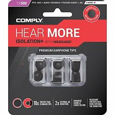 Comply Tx-500 Isolation PLUS Earphone Tips With Wax Guard Medium Black 3 pairs