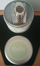 Relic Gold Tone Watch Crystal Dial Brown Face Calendar Ladies Watch New In Case