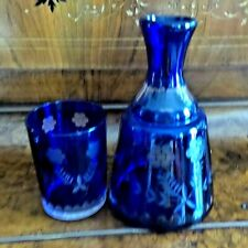 Vintage Bohemian Cobalt Cut To Clear Bedside Flask And Glass