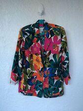 Women's Silk Land 100% Pure Silk Floral Jacket Small